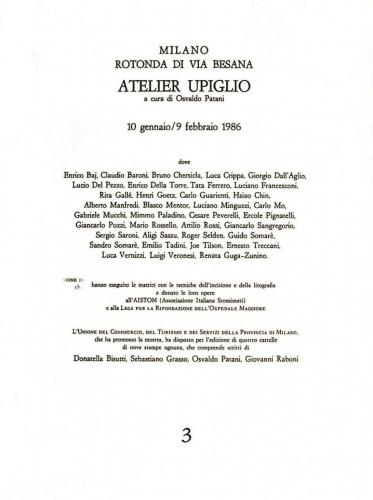 1986 - Elenco nomi Cartella di incisioni Atelier Upiglio