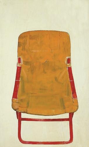 1992 - Sedia a sdraio gialla e rossa.