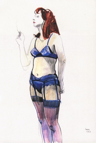 1987 - Quasi nuda in azzurro